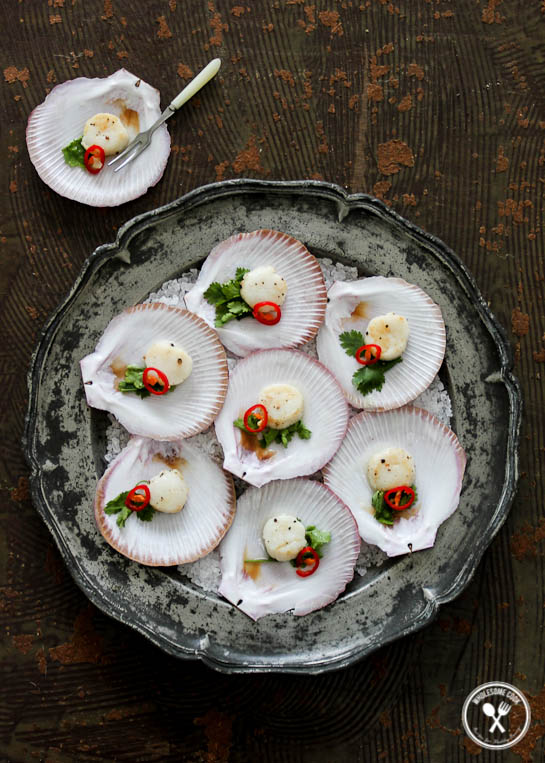 Scallops with a vodka and lime dressing wholesome cook for Buy canape shells
