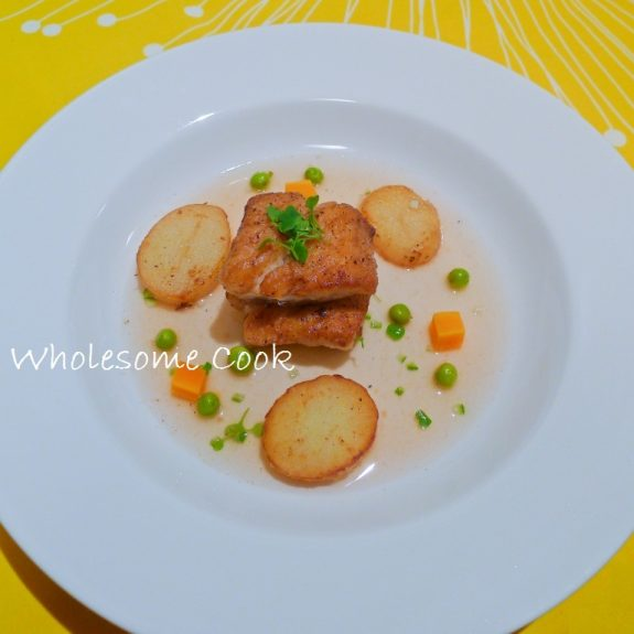 Gemfish fish and chips in consomme