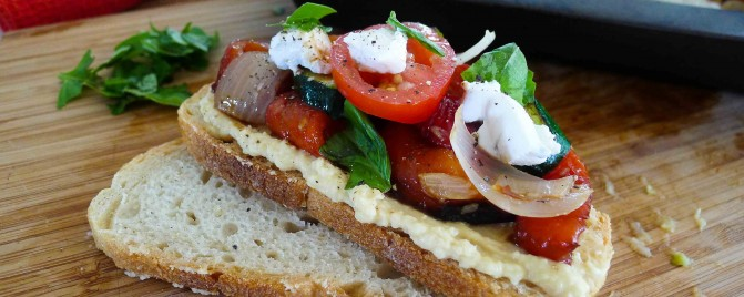 Quick roasted vegetable and goat cheese bruschetta