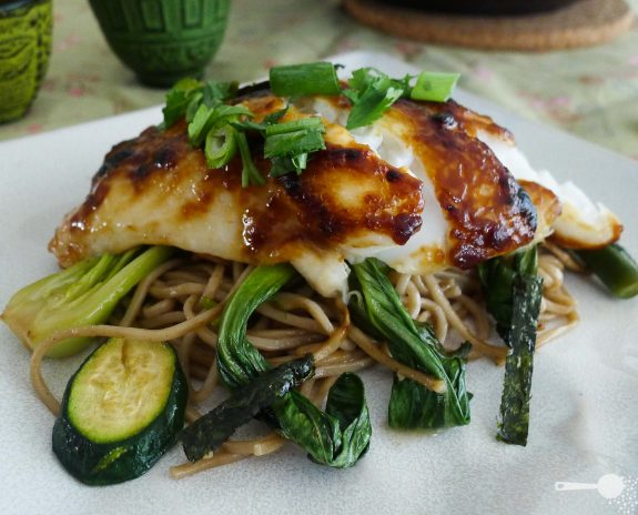 Miso-glazed fish with organic soba noodles and Asian greens ...