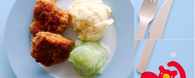 Kids meal: chicken schnitzel nuggets, cucumber slaw