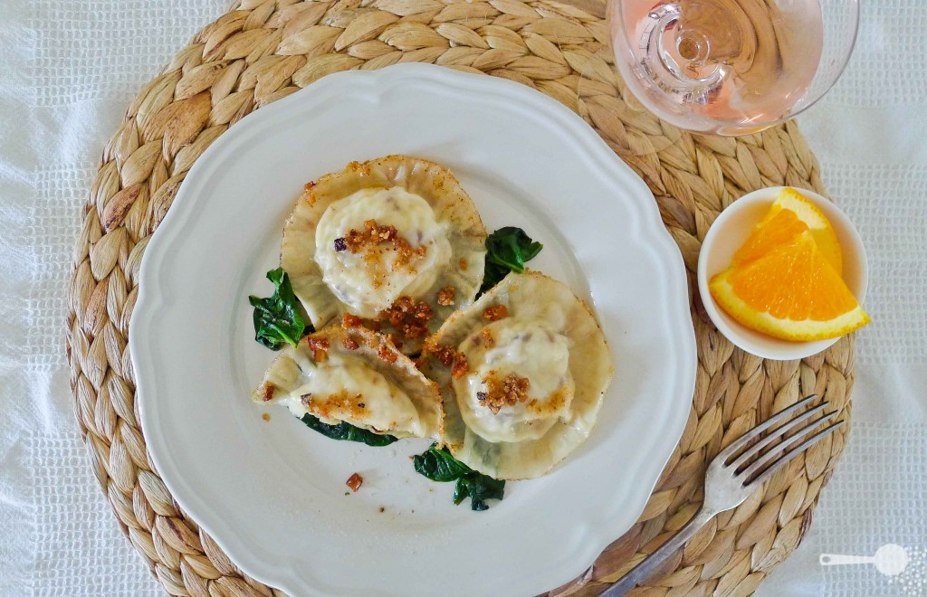 Potato, ricotta and onion ravioli [also known as ruskie pierogi]
