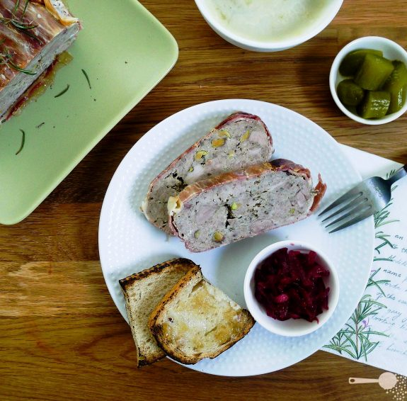 Pork belly and pistachio terrine beetroot relish for Chicken and pork terrine with pistachio