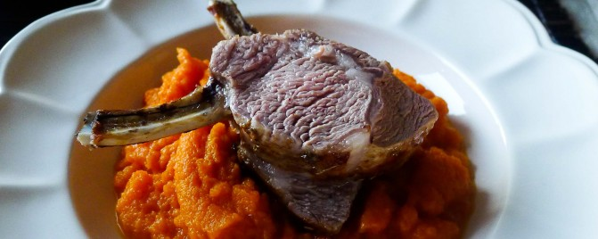 Roasted lamb racks, maple roasted cabbage, carrot mash