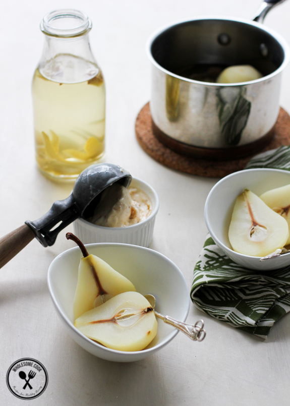 Lemongrass and Ginger Tea Poached Pears