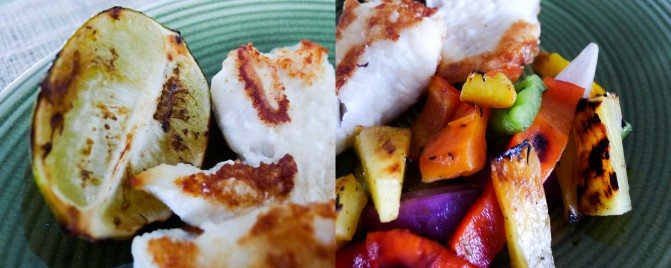 Fish with grilled pineapple, capsicum and lime salsa