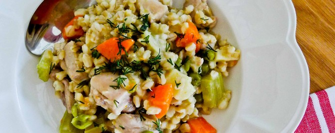 Pearl barley 'risotto' with vegetables and chicken