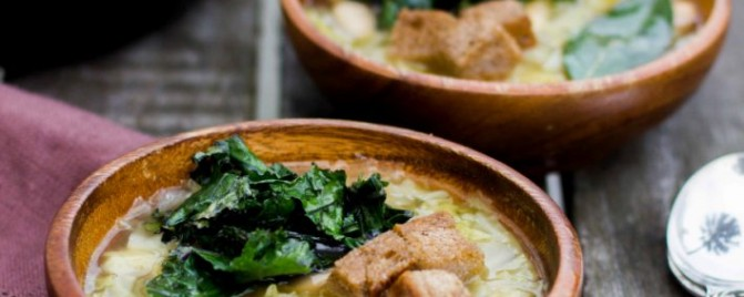 Cabbage, Bean and Crispy Kale Soup