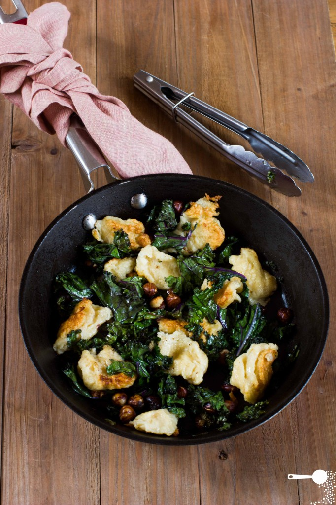 Polish Egg Dumplings Kluski Kladzione with Hazlnut Butter Kale