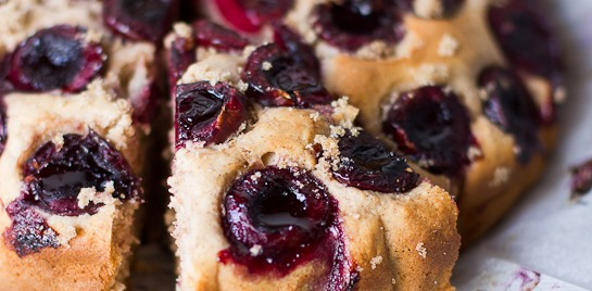 French Cinnamon Tea Cake with Fresh Cherries