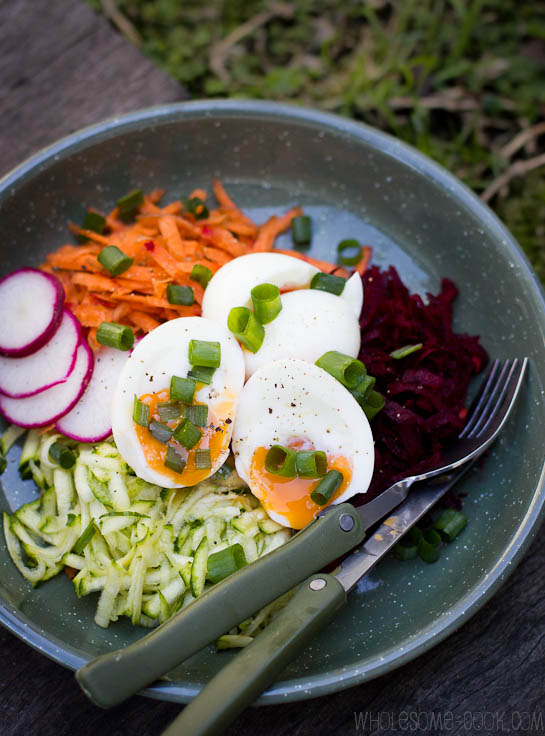 Beetroot Zucchini and Carrot Salad with Runny Eggs