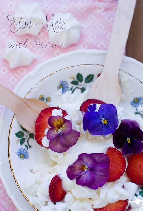 Eton Mess with Pansies plus 5 other edible flowers
