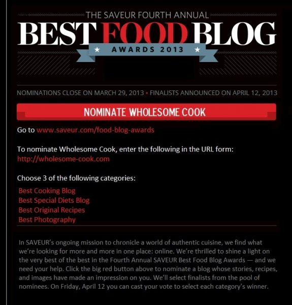 Saveur Best Blog Awards