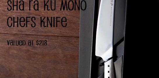 WIN a Tojiro Sha Ra Ku Mono Chefs Knife (Closed)