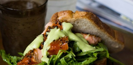 "Salmon Salad Sandwich with Avocado ""Mayo"" 