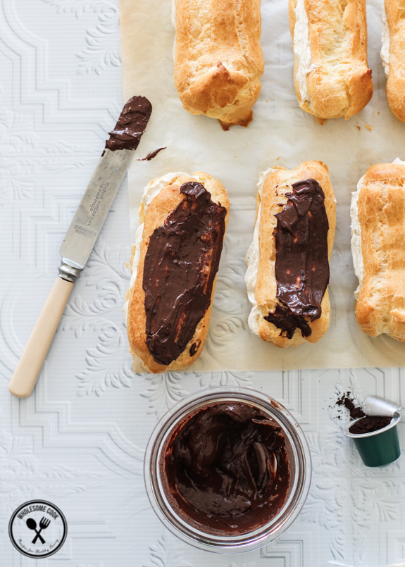 Easy Choux Pastry Recipe for Coffee Cream Eclairs-7