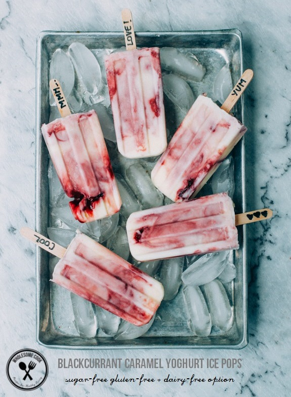 Blackcurrant Caramel Yoghurt Ice Pops