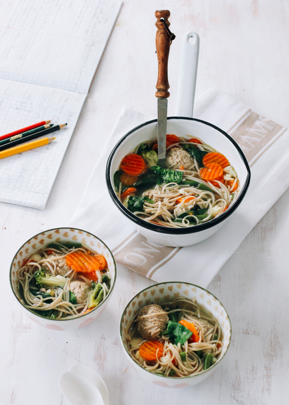 Speedy Vegetable and Meatball Noodle Soup