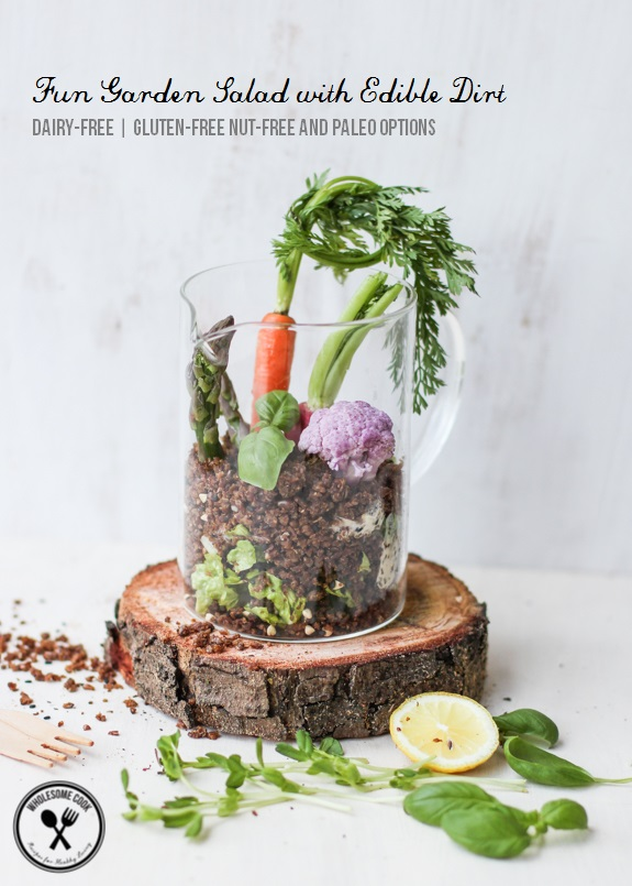 Fun Garden Salad with Edible Dirt_