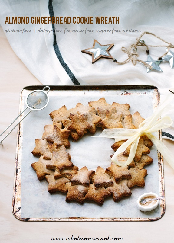 Almond Gingerbread Cookie Wreath_-3