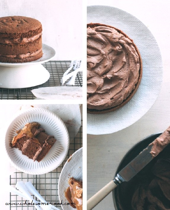 Gluten-free Low Sugar Chocolate Layer Cake with Salted Caramel and Sesame Snaps  (1)