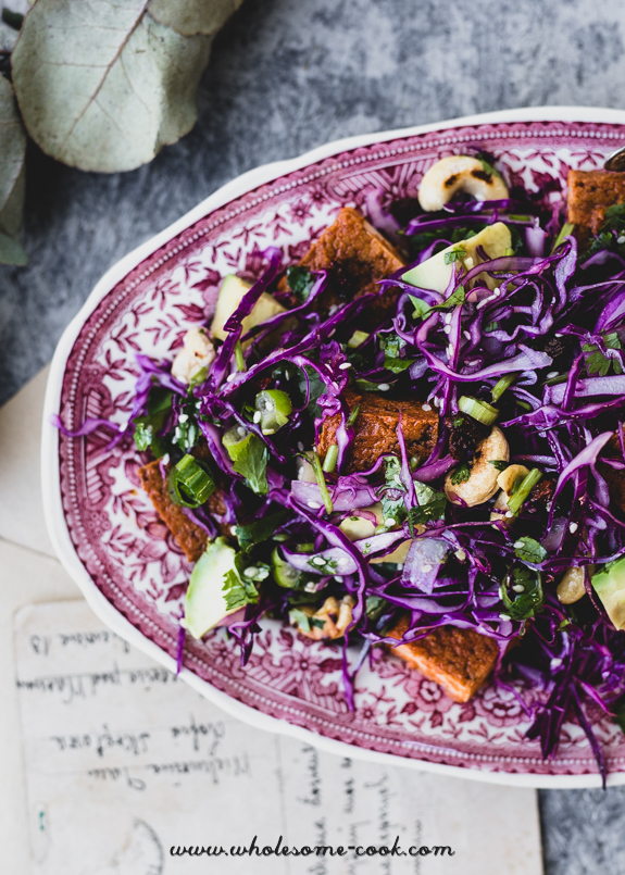 Tempeh, Avocado and Red Cabbage Slaw