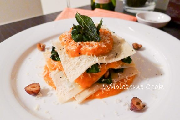Pumpkin and Burnt Spinach Lasagne with Hazelnuts, Pecorino and Sage