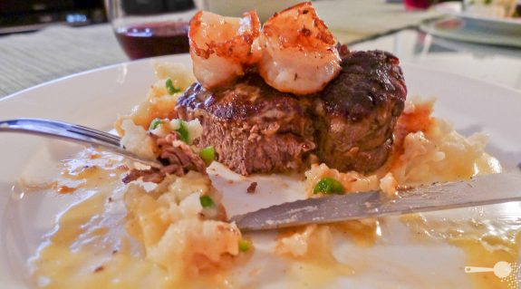 Beef Fillet Steak with Vanilla Bean Hollandaise, Prawns, Potato and Pea Mash