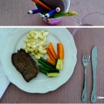 Kids meal: real macaroni & cheese, minute steaks, veggies
