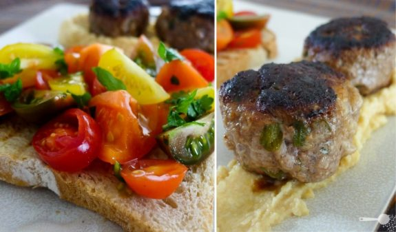 Lamb kofta balls, hommus and heirloom tomatoes