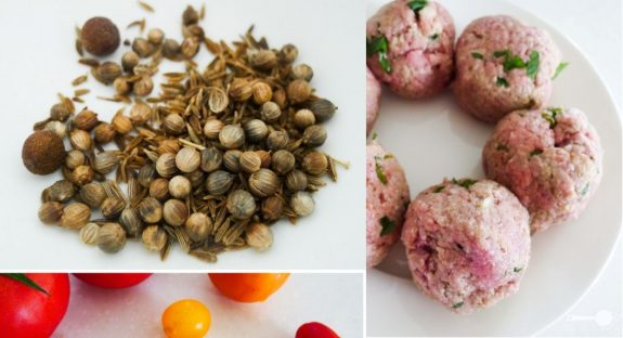 Lamb kofta balls, hommus and heirloom tomatoes