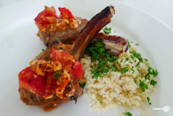 Quick tomato, feta and caper lamb cutlets with quinoa