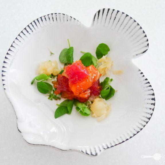 Sashimi salad with flying fish roe dressing