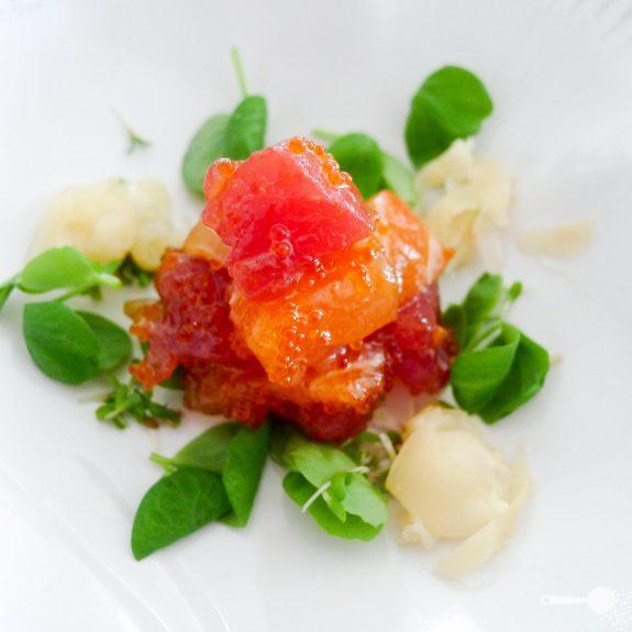 Sashimi salad with flying fish roe dressing wholesome cook for Sashimi dressing