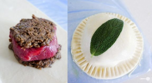 Mini beef Wellington pies, maple greens
