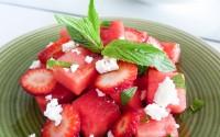 5 ingredient watermelon, strawberry and feta salad