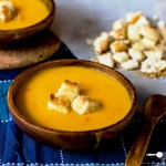 Pumpkin Soup with Coconut, Chilli + Garlic Croutons