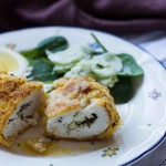 Oven-baked Chicken Kievs with Cucumber Salad