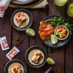Torched Salmon and Mango Tacos with Soft Corn Tortillas