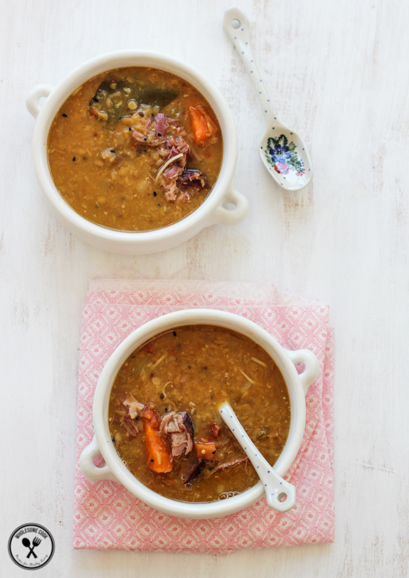 Red Lentil Coconut and Ham Soup