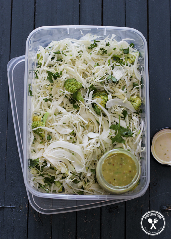 Cabbage and Fennel Slaw with a Mustard Avocado Dressing