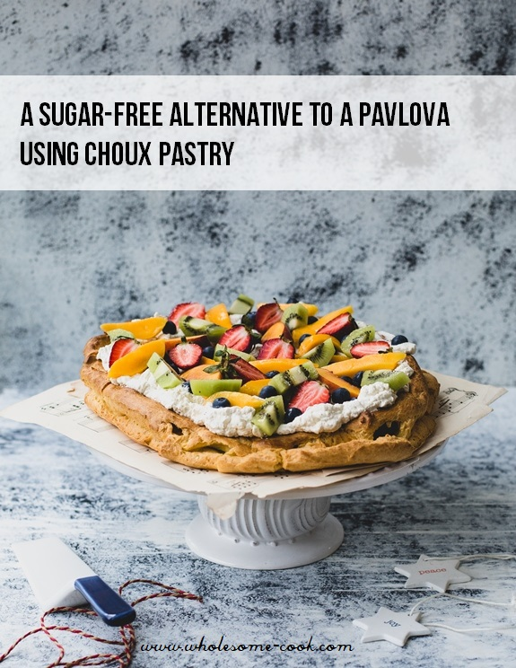 A sugar-free pavlova alternative using choux pastry