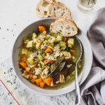 Vegetable, chicken and bacon rind soup